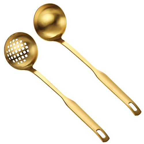 TOOGOO Gold Soup Ladle Colander Set, Long Handle Steel Kitchenware Cookware Serving Spoon, for Cooking Utensil(2 PCS)