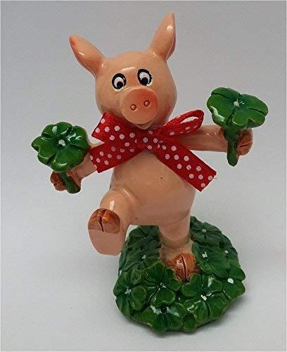bb10 Schmuck Glücksschwein Ulli mit Kleblatt Glücksschwein Glücksbringer Talisman Glücksfigur