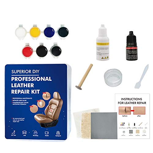 sunronal DIY Leather Vinyl Repair Kit Repairs And Touch Ups Car Leather Repairing Tools Restore Scratches Stains Cracks Can Repair Car Seats, Leather Sofas, Leather Satchels, Wallets, Backpacks