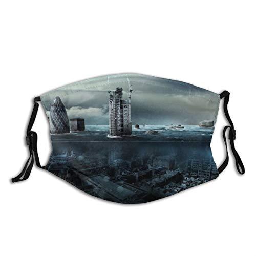 XINGAKA Gesichtsbedeckung,Moderne Stadt überflutet durch Wasser,riesiges Kreuzfahrtschiff,das auf Wasser läuft,Unisex Wiederverwendbar Winddicht Staubschutz Mund Bandanas Outdoor Mit 2 Filtern