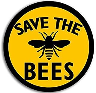 JR Studio 4x4 inch Round Save The Bees Sticker (Anti Monsanto Beekeeper Yellow Black Love) Vinyl Decal Sticker Car Waterpr...
