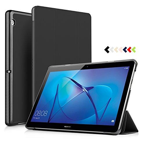 IVSO Huawei MediaPad T3 10.0 hülle, hochwertiges PU Leder Etui hülle Tasche Hülle - mit Standfunktion, super 360° Anti-Wrestling, ist für Huawei MediaPad T3 10.0 Tablet-PC ideal geeignet (Schwarz)
