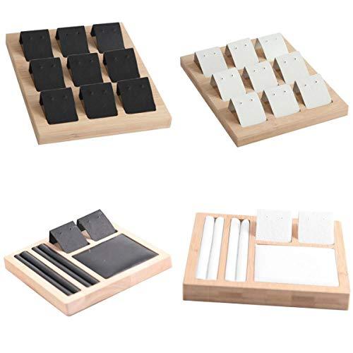 Bonarty Caja de Exhibición de Almacenamiento de Joyería de 4 Piezas, Organizador de Pendientes, Collar, Pulsera