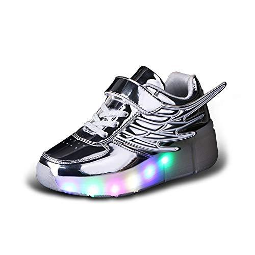WERTYUH Unisex Recargable Led Luz Automática De Skate Zapatillas con Ruedas Zapatos Patines Deportes Zapatos para Niños Niñas,Silver-37