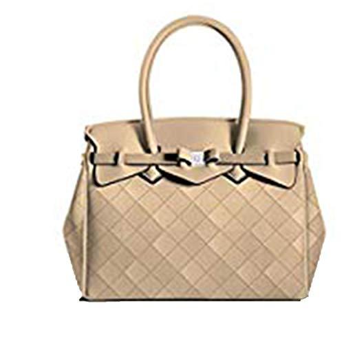 SAVE MY BAG - Bolso al hombro para mujer Beige champán 34x29x18cm