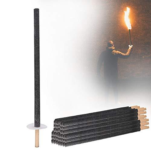wolketon 50 Fackeln Brennzeit 100 min. Wachsfackeln inkl. 50 x Handschutz, mit Extra Langem Griff, für Nachtwanderung und Veranstaltungen