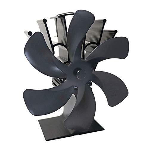 Desconocido Generic 6 aspas Ventilador de Estufa de leña/Quemador de Troncos Ventilador ecológico circulación de Calor para Madera/Quemador de Troncos/Chimenea - Gris