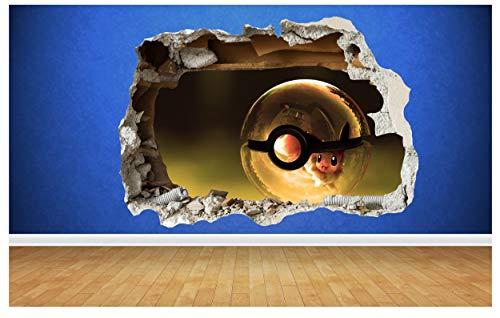 Thorpe Signs Wandaufkleber Pokemon Go, Pikachu, 3D Stil, zerstörte Wand,  Kinderzimmer, Schlafzimmer, Vinyl, Large: 80cm x 58cm