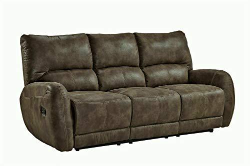 Femo 3er Sitzer Couch mit Relaxfunktion Braun Sofa Polstergarnitur Stoff Couch