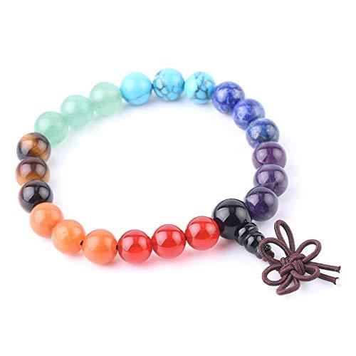 XYBB 8mm Chakra Bracelets Colorful Natural Stone Reiki Yoga Meditation Bangles Rhinestone Spacer Bead Elastic Rope Bracelets (Metal Color : Chakra)