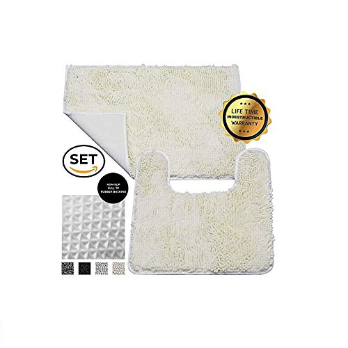Enkosi Luxury Chenille Bathroom Rug Mat, Extremely Soft Machine Washable, Best Carpet Mats for Tub, Shower, and Bath Room (30X20 Rectangle & 19X19 U-Shaped, Ivory)