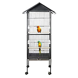 63″ Large Bird Cage, Parrot Cage Vintage Bird Cage, Large Capacity Multifunction Feeding Rest Fun Supplies with Perch Stand and Wheels Aviary for Parrots/Parakeets/Cockatiels/Budgies Metal