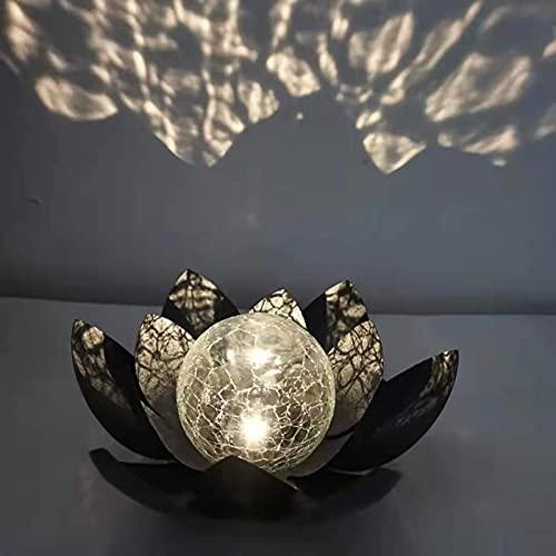 DHYED Lámpara solar para jardín, diseño de flor de loto, de metal, bola de cristal, decorativa, efectos de luz de ensueño gracias a su aspecto de cristal roto