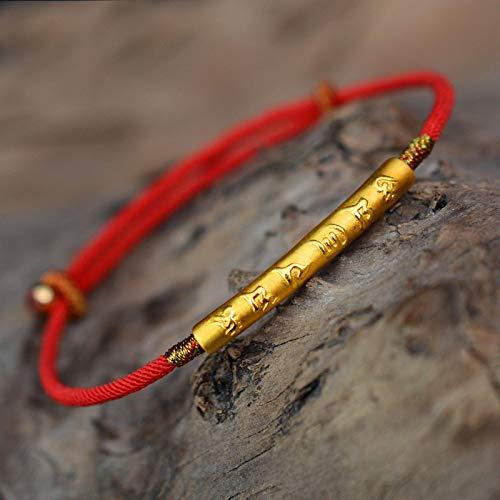 WWWL Pulsera 999 Plata esterlina Oro Color Hecho a Mano Pulsera de Cuerda roja Delgada para Las Mujeres Seis Palabras Grabado Mantra oración Budismo joyería Gold1PCS