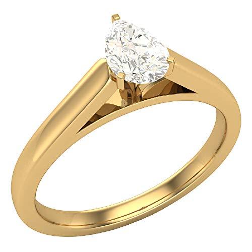 Glitz Design Mujer Niños Hombre Unisex oro 14 quilates (585) oro amarillo 14 quilates (585) pera blanco tintado amarillento (l) Diamond