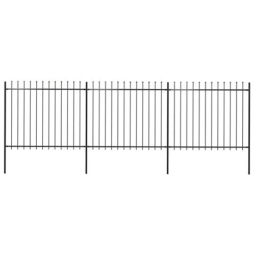BIGTO Garden Fence with Spear Top Powder-coated steel, 510 x 200 cm Black,Fence panel height: 150 cm,Post dimensions: 3,4 x 200 cm,sturdy and durable