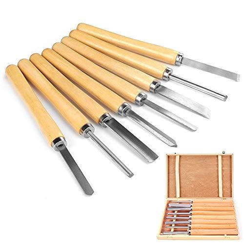 uyoyous Juego de 8 herramientas de torneado de madera, juego de cinceles para tornear, herramientas de torneado, herramientas de corte oblicuo, herramientas giratorias, juego de cinceles