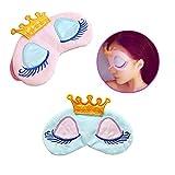 AKOAK Pack of 2 Cute Girl's Travel Princess Crown Sleeping Eye-Shade Blindfold Nap Cover Eye Mask(Pink+Light Blue)