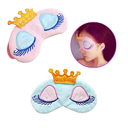 AKOAK Pack of 2 Cute Girl's Travel Princess Crown Sleeping Eye-Shade Blindfold Nap Cover Eye Mask(Pink+Light Blue)