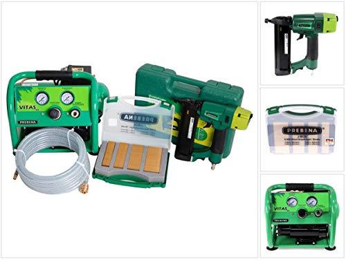 Prebena Komplettpaket 2XR-J50 Druckluftnagler + Druckluftschlauch 10m + Kompressor VITAS 45 + J-BOX 8.000 Stauchkopfnägel