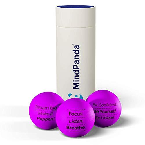 MindPanda 3X balles Anti-Stress Motivation Positive | La Balle Anti-Stress idéale pour Les Adultes et Les Enfants afin de Les Aider à Lutter Contre Le Stress et l'anxiété.