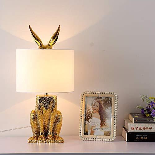 PElight Moderne Metall Tischlampe, Dekorative Hasen- / Kaninchen-Schreibtischlampe, Augenschutz-Tischlampe, mit Weißem Lampenschirm - Ausgestattet mit 5W Led-Lampe [3000K Warmweiß]