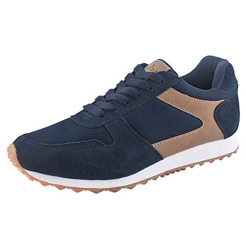 TIESTRA Zapatillas de Correr para Hombre,Running para Hombre Aire Libre y Deporte Transpirables Casual Zapatos Gimnasio Correr Sneakers, Azul Marino Talla 41-46EU