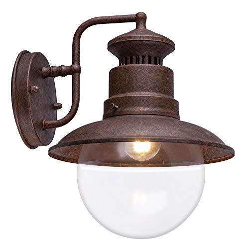 Außen Retro Wand Spot Lampe rostfarben Glas Stahl Terrasse Beleuchtung Garten Leuchte Globo 3272R