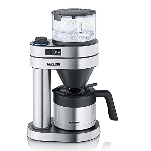Severin Caprice KA 5761 Filterkaffeemaschine mit Edelstahl-Thermokanne und Schwenkfilter, 8 Tassen - Edelstahl / Matt Schwarz