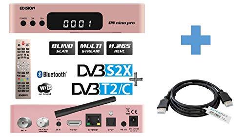 EDISION OS NINO PRO Full HD Linux Combo Receiver mit DVB-S2X & DVB-C/T2 H.265/HEVC inkl. TechnikRAT HDMI-Kabel 1,5 m / Multistream, Blind Scan, Wi-Fi, Bluetooth , 2 x USB, HDMI, LAN, Farbe: Rose Gold