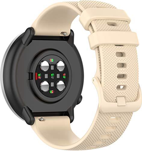 Chainfo Armband 20mm, Silikon Sportarmband Uhr Band Strap Ersatzarmband Uhrenarmband (20mm, Beige)