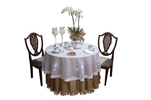 Mantel redondo bordado Madeira hecho a mano, con servilletas, en organdí y lino - blanco, beige