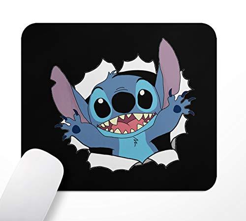 Tapis de souris de gaming - Motif Stitch - Base en caoutchouc antidérapante - 24 x 20 cm - Surface en tissu souple et effet antistatique