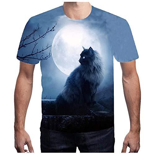 Tyoby Herren Mode T-Shirt,Dreidimensional Wilder Wolf Druck Freizeit Kurzärmliges Oberteil(BlauB,XL)