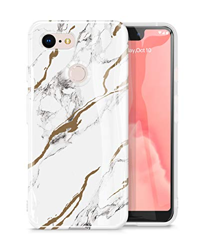 GVIEWIN Marble Google Pixel 3 XL Case, Ultra Slim Thin Glossy Soft TPU Rubber Gel Phone Case Cover Compatible Google Pixel 3 XL Only [Not Compatible with Pixel 3a XL] (White/Gold)