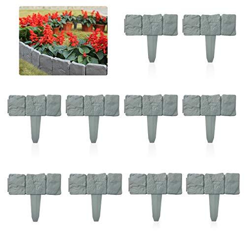 Vockvic Bordo Per Giardino Prato Effetto Pietra, Piante Da Giardino In Plastica Recinzione Flessibile Bordi Per Aiuole Erba Paesaggio Arredamento, 10 Pezzi(2.5M)