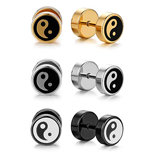 Flongo Tapers Cheater Stud Earrings, Men's Womens Stainless Steel Star/Yin...