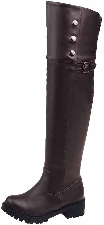 WeiPoot Women's PU High-top Solid Zipper Low-Heels Boots