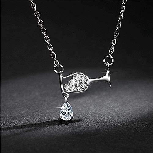 AKDLKXTS Necklace Women S Crystal Zircon Wine Glass Pendant Necklace Rhinestone Necklace Gift Birthday Jewelry
