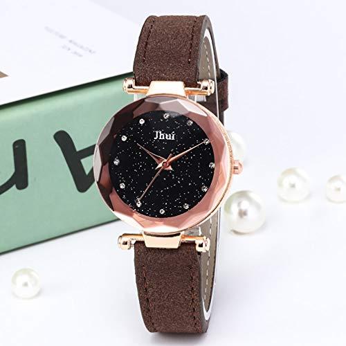 TW Glitter Frauen Runde Zifferblatt Mode Damen Uhren Schlankes Lederband Quarzuhr Frauen Dünne Casual Strap Uhr (dunkler Kaffee)