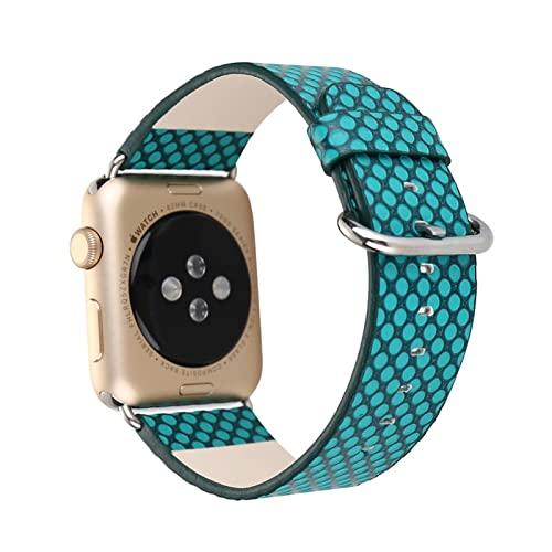 YYAN Nuevo Deporte PU Ajuste de la Correa de la Banda for el Reloj de Apple 6 5 4 3 2 1 Marchito Reloj Ajuste for iWatch 44mm 40mm 42mm 38mm Cinturón de Reloj de Lunares (Band Color : B)
