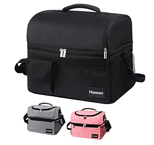 Nevera grande de 24 L, bolsa aislante doble tapa, bolsa de pícnic, bolsa isotérmica, bolsa isotérmica, bolsa isotérmica, bolsa isotérmica, bolsa isotérmica para deportes, picnic, fitness, color negro