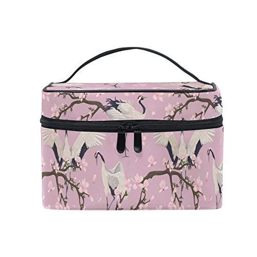 HaJie - Bolsa de maquillaje de gran capacidad, organizador japonés con patrón de flores para viajes, portátil, neceser de almacenamiento, bolsa de lavado para mujeres y niñas