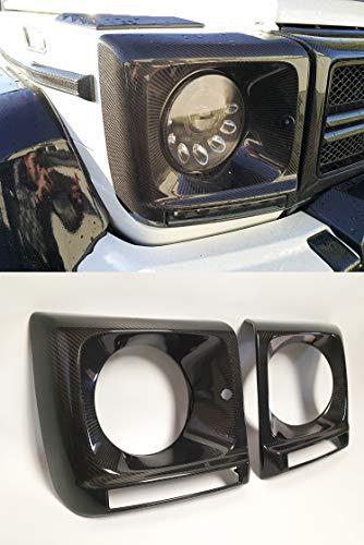 kit-car Brabus Style Carbon Fiber Headlight Covers - Headlights Lamp Frames for G-Class W463 Mercedes Benz G500 G550 G55 G63 AMG G65 AMG Vehicles