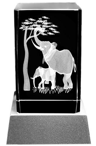 Kaltner Präsente Stimmungslicht - Ein ganz besonderes Geschenk: LED Kerze/Kristall Glasblock / 3D-Laser-Gravur Tiere Elefanten