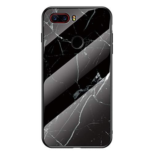 BINGRAN ZTE Nubia Z17s Hülle,Marmor Motiv Gehärtetes Glas Rückendeckel + Weiche TPU Silikon Stoßstange Stoßdämpfung Schutzhülle Handy Hülle für ZTE Nubia Z17s-Schwarz