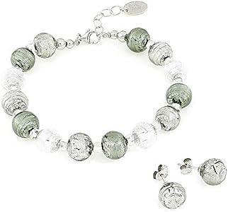 Venetiaurum – Juego para mujer, pulsera y pendientes de perno con perlas de 10 mm de cristal original de Murano y plata 925 – Fabricado en Italia certificado