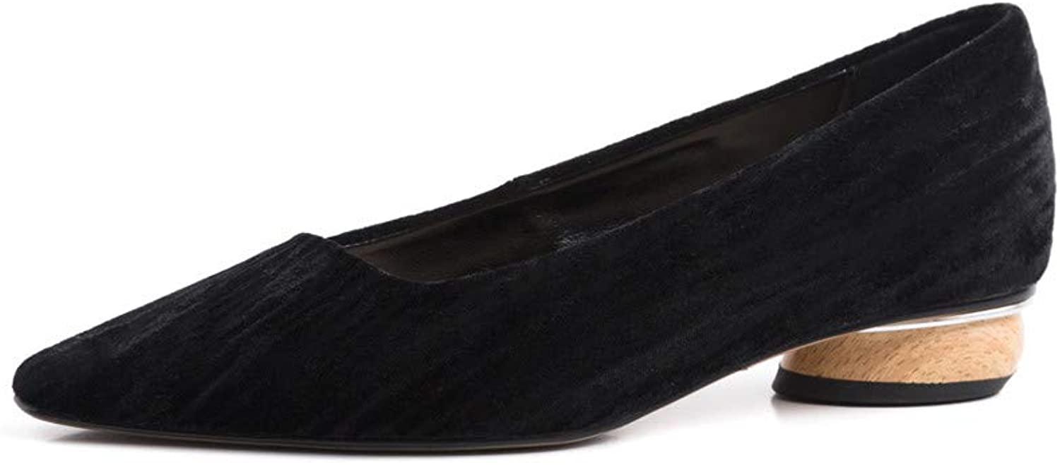 Nine Seven Women's Suede Leather Pointed Toe Flat Chunky Heel Handmade Glossy and Comfortable Pumps