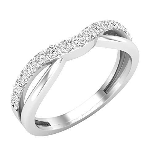 Dazzlingrock Collection 0.25 Carat (ctw) 14K Round Diamond Anniversary Wedding Guard Contour Band 1/4 CT, White Gold, Size 7 (0.25 Ct Dazzling Diamond)