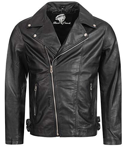Rock Creek Herren Lederjacke Biker Jacke Echtleder Motorradjacke Leder Jacken Herrenjacke Braun Winterjacke Übergangsjacke H-182 Schwarz 2XL
